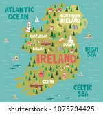 Illustrated Map Of Ireland Wit...