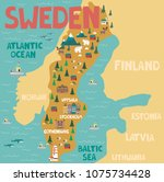 illustrated map of sweden with... | Shutterstock .eps vector #1075734428