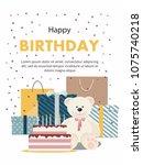 birthday card with teddy bear  ... | Shutterstock .eps vector #1075740218