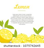 lemon and slices with leaf... | Shutterstock .eps vector #1075742645