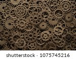 brass cog wheels  steampunk... | Shutterstock . vector #1075745216