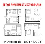 set of plan  architectural... | Shutterstock .eps vector #1075747775