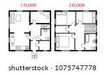 two floors plan architectural... | Shutterstock .eps vector #1075747778