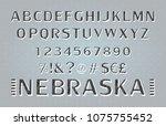 font. alphabet. script.... | Shutterstock .eps vector #1075755452