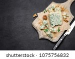slice of french roquefort... | Shutterstock . vector #1075756832