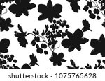 Stock vector floral seamless pattern with different flowers and leaves black and white botanical illustration 1075765628