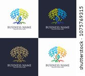 collection tree genetic logo... | Shutterstock .eps vector #1075769315
