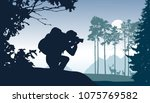 a tourist with a backpack... | Shutterstock .eps vector #1075769582