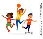 children sport activities... | Shutterstock .eps vector #1075772816