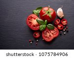 tomatoes  basil  pepper and... | Shutterstock . vector #1075784906