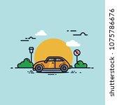 vector car flat design... | Shutterstock .eps vector #1075786676