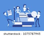 students with giant books.... | Shutterstock .eps vector #1075787945