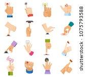 push button vector hand pushing ... | Shutterstock .eps vector #1075793588