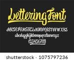 calligraphic vector script font.... | Shutterstock .eps vector #1075797236