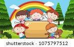 kid under rainbow with banner... | Shutterstock .eps vector #1075797512