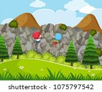 kids enjoy rock climbing... | Shutterstock .eps vector #1075797542