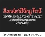 calligraphic vector script font.... | Shutterstock .eps vector #1075797932