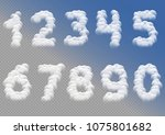 white cloudy numbers over blue... | Shutterstock . vector #1075801682