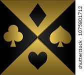 golden poker playing card... | Shutterstock . vector #1075801712