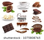 set of realistic cocoa products ... | Shutterstock .eps vector #1075808765