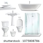 Bathroom objects set realistic 3d collection of isolated lavatory bathing room elements and sanitary fixture images vector illustration | Shutterstock vector #1075808786