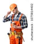 repairman in orange overall and ...   Shutterstock . vector #1075814402
