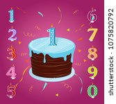 happy birthday cake with... | Shutterstock .eps vector #1075820792