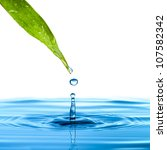 Water Drop From Green Leaf On...