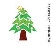 vector christmas tree... | Shutterstock .eps vector #1075836596