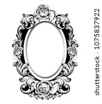 Stock vector vintage round frame with rose flowers decor vector antique ornamented mirror accessory intricated 1075837922