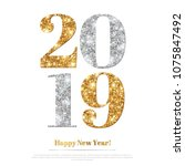 happy new year 2019 greeting... | Shutterstock .eps vector #1075847492