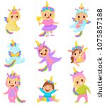 sweet little kids in unicorn... | Shutterstock .eps vector #1075857188