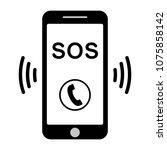 sos call icon phone  vector sos ... | Shutterstock .eps vector #1075858142