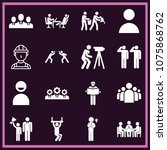 set of 16 people filled icons...   Shutterstock .eps vector #1075868762