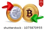 bitcoin to euro currency... | Shutterstock .eps vector #1075870955