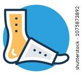 orthopedic plaster over foot ... | Shutterstock .eps vector #1075873892