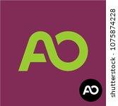letters ao monogram. two...   Shutterstock .eps vector #1075874228