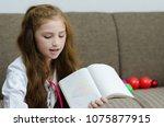 lovely child girl playing dough ... | Shutterstock . vector #1075877915