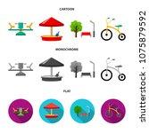 carousel  sandbox  park ... | Shutterstock .eps vector #1075879592