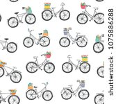 romantic bicycles with a flower ... | Shutterstock .eps vector #1075886288