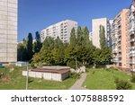 panel and brick nine story... | Shutterstock . vector #1075888592