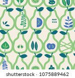 seamless pattern with pears and ... | Shutterstock .eps vector #1075889462