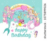 template birhday card with... | Shutterstock .eps vector #1075899026