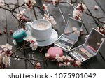 cup coffee  with eyeshadow ... | Shutterstock . vector #1075901042
