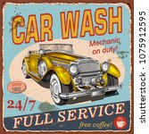 vintage  car wash  poster with... | Shutterstock .eps vector #1075912595