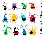 set of twelve cute color... | Shutterstock .eps vector #1075913585