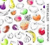 hand drawn fruit seamless...   Shutterstock .eps vector #1075918616