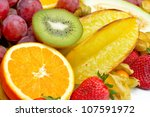 fresh tropical fruits | Shutterstock . vector #107591972