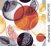citrus seamless pattern. pomelo ... | Shutterstock .eps vector #1075919795