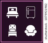 set of 4 furniture filled icons ... | Shutterstock .eps vector #1075921982